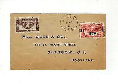 Algeria 1938 Cover With Stamp Overprint Increased Value To Scotland