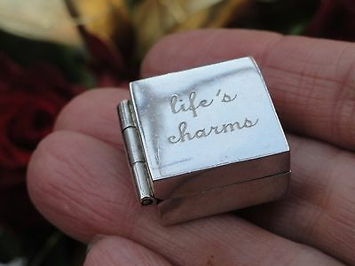 Vintage Sterling silver life s  charm  box  Marked 925