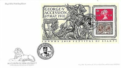 Gb 2010 Festival Of Stamps Sheet On Royal Mail Fdc With 'philatelist King' Pmk