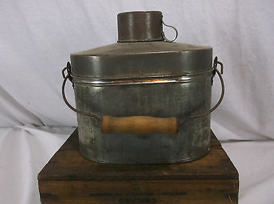 Antique Vintage Miners Metal Lunchbox Lunch Box With Metal Cup