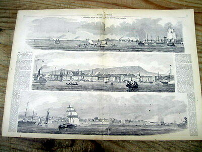 1860 illustrated newspaper LARGE POSTER engraving VIEWS OF MONTREAL CANADA