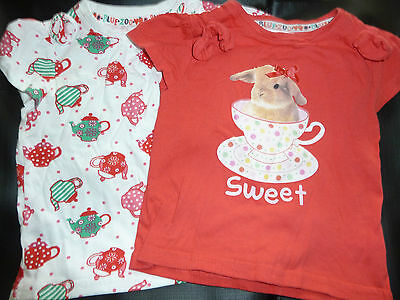 BNWOT bluezoo t- shirts sweet bunny teacup teapots 12 - 18 months - So cute!