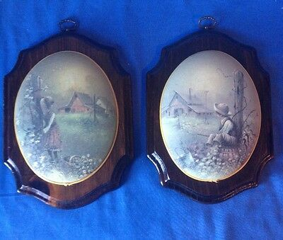 2 Rare Vintage Beveled Painting/Print Wall Hanging Art Wood Plaque Children