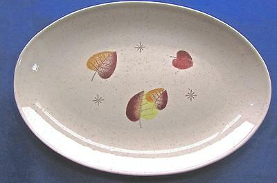 Mid Century American Pottery Vernon Sherwood Oval Serving Plate Tree Leaves