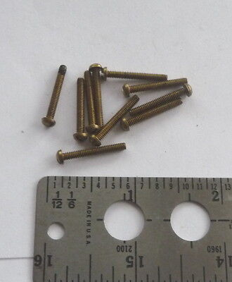 5 Vintage NOS Solid Brass Clock/Radio/Gauge Screws Round Head Slot 3/48 X 3/4 L
