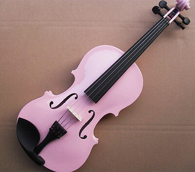 * New Pink Musical Instruments Basswood  Beginner Violin 1/4 3/4 4/4 1/2 1/8