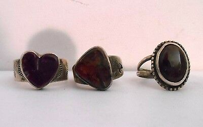 Three Beautiful Vintage Sterling Silver and Gemstone Rings - Variety - 2 Signed