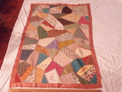 Antique Vtg 1900s Embroidered CRAZY QUILT 57x37 Many Fabrics- Hand Stitched