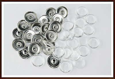 20x Button Druckknopf Rohling inkl. Cabochon Snap Click Buttons Chunk Button