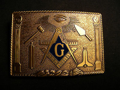 Vintage Masonic Belt Buckle Original Box  Freemason Masons 1978 Klitzner Bronze