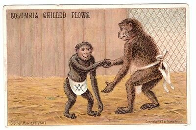 1880's Trade Card Columbia Chilled Plows Uttica New York Monkeys