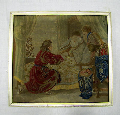 Antique 19thC or Earlier EUROPEAN FRAMED TAPESTRY Embroidery DEATH BED SCENE