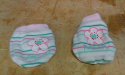 1 Pair Newborn Baby/infant Anti-scratch Cotton Mittens Gloves---Flower/striped