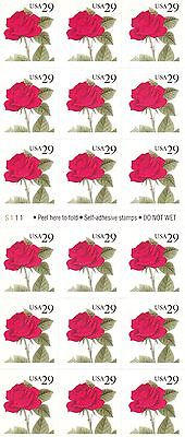U.S. BOOKLET PANE OF 18 SCOTT#2490a 1993 29ct RED ROSE MINT P#S111 AT FACE