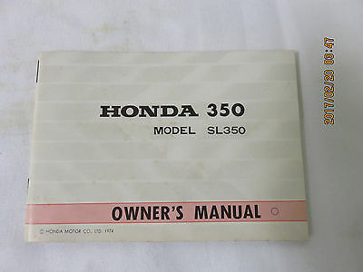 Honda Sl350 K2 Owners Manual Nos Near Mint Condition