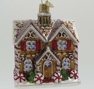 Merck Old World Christmas Cottage House Gingerbread Glass Ornament 20075