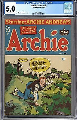 ARCHIE COMICS #12 CGC 5.0 OFF-WHITE PAGES FREE SHIPPING -Hi Res Scans-