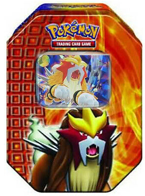 Legendary Entei Collectors Tin Pokemon Card | Holo Promo + 3 Booster Packs