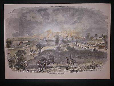 The Approaches To Vicksburg Mississippi Civil War 1875 Hand Colored Engraving