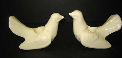 Off White Figurine Dove Candle Holders Pair
