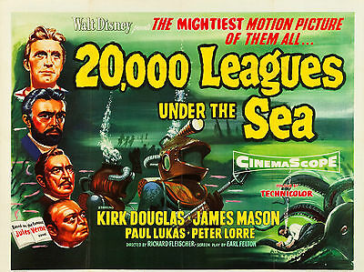 """20000 Leagues under the Sea 1954 16"""" x 12"""" Reproduction Movie Poster Photograph"""