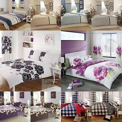 8PC Bumper Duvet Cover Bedding Set Pillow Cases Fitted Sheet Curtains 2Tie Backs