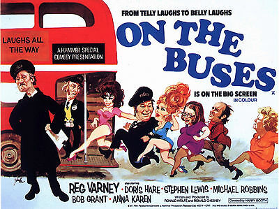 """On the Buses 1971 16"""" x 12"""" Reproduction Movie Poster Photograph"""