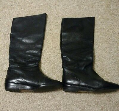 "Casual Black Leather Boots 8.5, M Slouch Style , Knee High Low 1"" Heel"