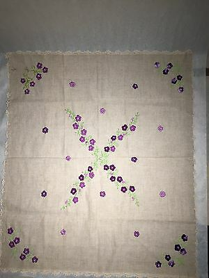 "Handmade Embroidery Tablecloth 33"" X 29"""