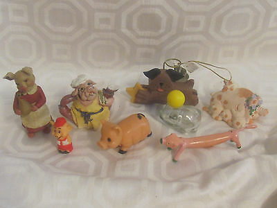 Pig Figurines 8-One Is Avon-Collection From Estate-1960's-70's-Farm-Barn-Pig Pen