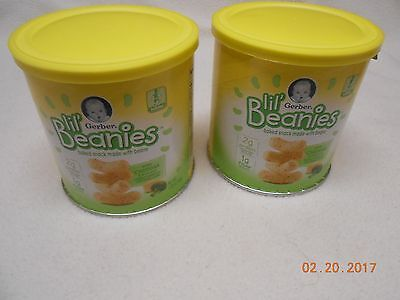 LOT 2 CANISTERS GERBER LIL' BEANIES BAKED SNACK MADE w/ BEANS EXP. 4/4/17 BABY