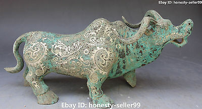 """14"""" Old Collection Chinese Bronze Vessels Silver Cattle Oxen Bull Animal Statue"""
