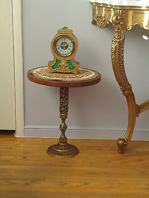 "Vintage Teak Wood Brass Pedestal Stand Table 17 1/2"" Height"