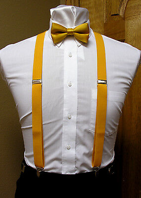 Gold suspenders bow tie set x back suspenders clip-on formal dance steampunk