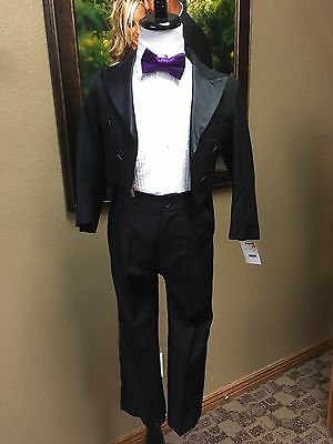Black Tail Boys 5 Tuxedo Coat Formal Wool Tailcoat Party Dance Jacket Cosplay