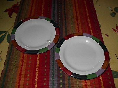 """Coors Pottery {2} """"Color Wheel"""" 7 1/4"""" BREAD & BUTTER PLATES! MINT! UNUSED!"""