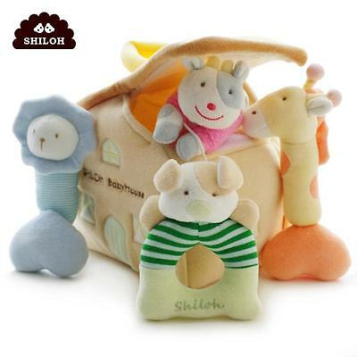 SHILOH Developmental lovely Bell Kids Baby Soft Plush Rattle Animal Family