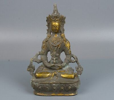 Chinese exquisite hand-carved Copper Guanyin/Kwan-yin statue
