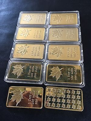 10 1 Troy Ounce 100 Mills Gold Maple Leaf Gold Bars