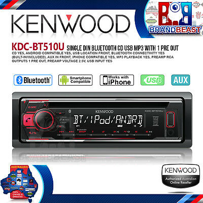 Kenwood Kdc-bt510u Head Unit Bluetooth Usb Cd Receiver Android & Iphone Kdcbt510