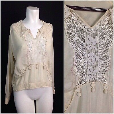 Vintage 1920s Ivory with Floral Lace Silk Semi Sheer Flapper Blouse Top M