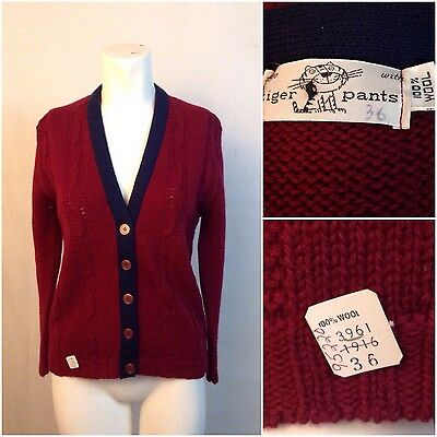 Vintage NOS 50s 60s Burgundy Blue Letterman Cardigan Sweater Women's Small