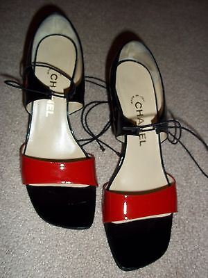 CHANEL Vintage Black & Red Patent Leather High Heels Sandals 9-VERY GOOD COND.