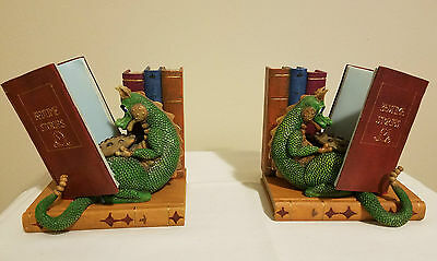 "*NEW* Dragon & Books Theme 7"" Bookends Set of 2 in Box"