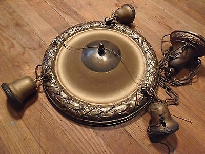 Vintage Brass Victorian Hanging Antique Three Light Pan Ceiling Chandeliers
