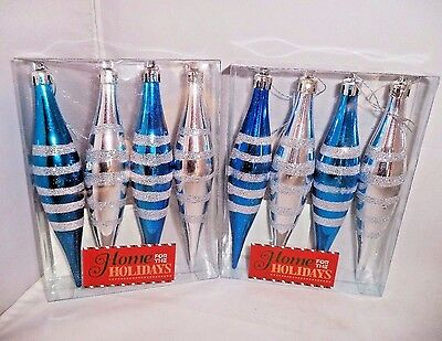 """Lot of 8 Long 6"""" Sparkly Silver & Blue Teardrop Christmas Ornaments New in Boxes"""