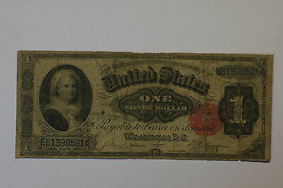 1891 $1.00 Silver Certificate (Martha Washington) Large Note, Red Seal