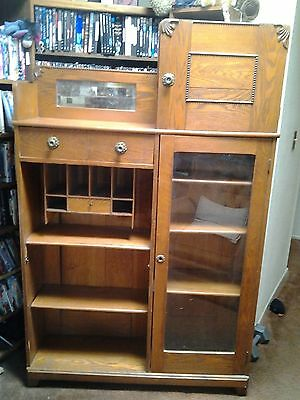 Antique Oak Side By Side, Drop Front Secretary Desk with Bookcase and Cabinet
