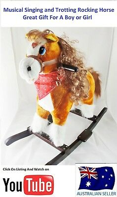 New Musical Tan Wooden Rocking Horse Ride on Toy Trotting And Singing sound
