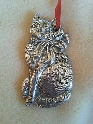 Gorham Silverplated 3 inch Christmas Cat Ornament